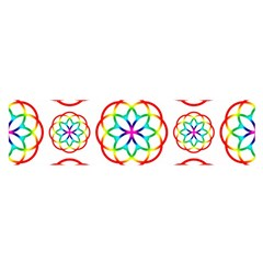 Geometric Circles Seamless Rainbow Colors Geometric Circles Seamless Pattern On White Background Satin Scarf (Oblong)