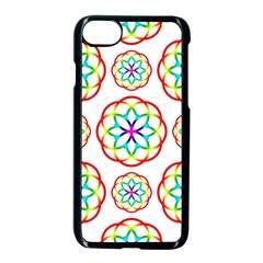 Geometric Circles Seamless Rainbow Colors Geometric Circles Seamless Pattern On White Background Apple iPhone 7 Seamless Case (Black)