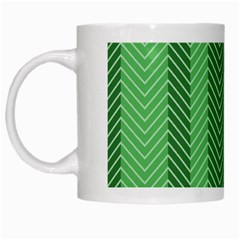 Green Herringbone Pattern Background Wallpaper White Mugs by Simbadda