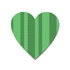 Green Herringbone Pattern Background Wallpaper Heart Magnet by Simbadda