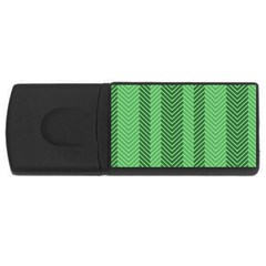 Green Herringbone Pattern Background Wallpaper Usb Flash Drive Rectangular (4 Gb) by Simbadda