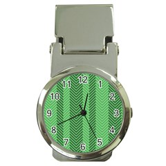 Green Herringbone Pattern Background Wallpaper Money Clip Watches by Simbadda