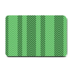 Green Herringbone Pattern Background Wallpaper Small Doormat  by Simbadda