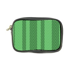 Green Herringbone Pattern Background Wallpaper Coin Purse by Simbadda