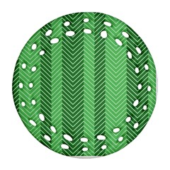 Green Herringbone Pattern Background Wallpaper Round Filigree Ornament (two Sides) by Simbadda