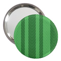 Green Herringbone Pattern Background Wallpaper 3  Handbag Mirrors by Simbadda