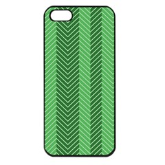 Green Herringbone Pattern Background Wallpaper Apple Iphone 5 Seamless Case (black) by Simbadda