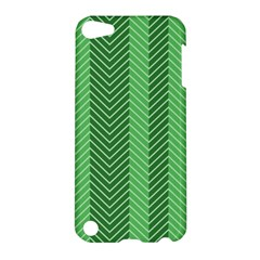 Green Herringbone Pattern Background Wallpaper Apple Ipod Touch 5 Hardshell Case by Simbadda