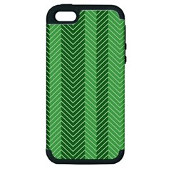 Green Herringbone Pattern Background Wallpaper Apple Iphone 5 Hardshell Case (pc+silicone) by Simbadda