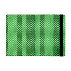 Green Herringbone Pattern Background Wallpaper Apple Ipad Mini Flip Case by Simbadda
