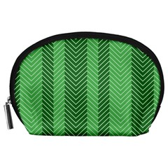 Green Herringbone Pattern Background Wallpaper Accessory Pouches (large)  by Simbadda