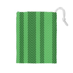 Green Herringbone Pattern Background Wallpaper Drawstring Pouches (large)  by Simbadda
