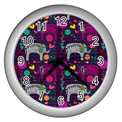 Colorful Elephants Love Background Wall Clocks (silver)  by Simbadda