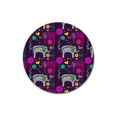 Colorful Elephants Love Background Magnet 3  (round) by Simbadda