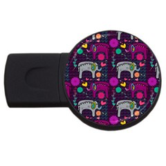 Colorful Elephants Love Background Usb Flash Drive Round (4 Gb) by Simbadda