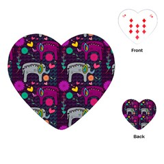 Colorful Elephants Love Background Playing Cards (heart)  by Simbadda
