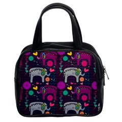 Colorful Elephants Love Background Classic Handbags (2 Sides) by Simbadda