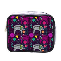 Colorful Elephants Love Background Mini Toiletries Bags