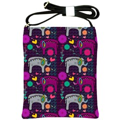 Colorful Elephants Love Background Shoulder Sling Bags by Simbadda