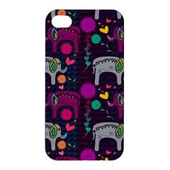 Colorful Elephants Love Background Apple Iphone 4/4s Hardshell Case by Simbadda