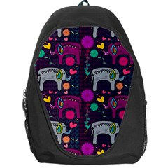 Colorful Elephants Love Background Backpack Bag by Simbadda