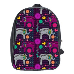 Colorful Elephants Love Background School Bags (xl)  by Simbadda