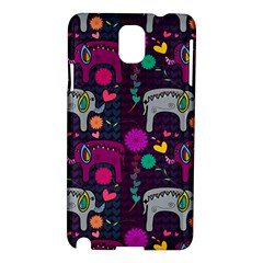 Colorful Elephants Love Background Samsung Galaxy Note 3 N9005 Hardshell Case by Simbadda