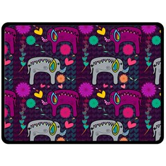 Colorful Elephants Love Background Double Sided Fleece Blanket (large)  by Simbadda
