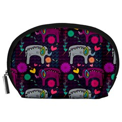Colorful Elephants Love Background Accessory Pouches (large)  by Simbadda