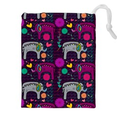 Colorful Elephants Love Background Drawstring Pouches (xxl) by Simbadda