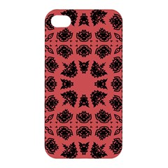 Digital Computer Graphic Seamless Patterned Ornament In A Red Colors For Design Apple Iphone 4/4s Premium Hardshell Case by Simbadda