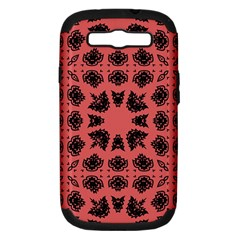 Digital Computer Graphic Seamless Patterned Ornament In A Red Colors For Design Samsung Galaxy S Iii Hardshell Case (pc+silicone) by Simbadda