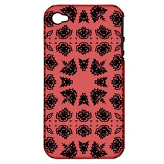 Digital Computer Graphic Seamless Patterned Ornament In A Red Colors For Design Apple Iphone 4/4s Hardshell Case (pc+silicone) by Simbadda