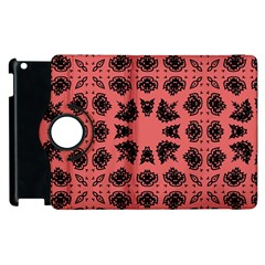 Digital Computer Graphic Seamless Patterned Ornament In A Red Colors For Design Apple Ipad 2 Flip 360 Case by Simbadda