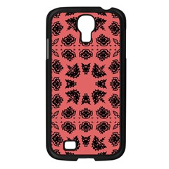 Digital Computer Graphic Seamless Patterned Ornament In A Red Colors For Design Samsung Galaxy S4 I9500/ I9505 Case (black) by Simbadda