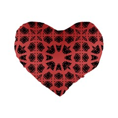 Digital Computer Graphic Seamless Patterned Ornament In A Red Colors For Design Standard 16  Premium Flano Heart Shape Cushions by Simbadda