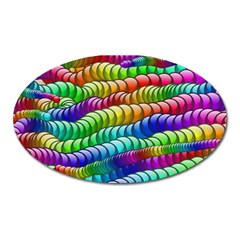 Digitally Created Abstract Rainbow Background Pattern Oval Magnet by Simbadda