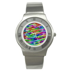 Digitally Created Abstract Rainbow Background Pattern Stainless Steel Watch by Simbadda