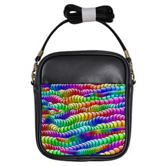 Digitally Created Abstract Rainbow Background Pattern Girls Sling Bags by Simbadda