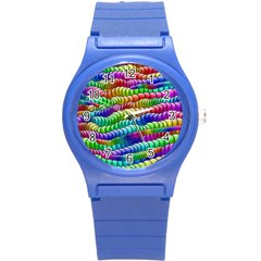 Digitally Created Abstract Rainbow Background Pattern Round Plastic Sport Watch (s) by Simbadda