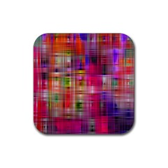 Background Abstract Weave Of Tightly Woven Colors Rubber Square Coaster (4 Pack)  by Simbadda