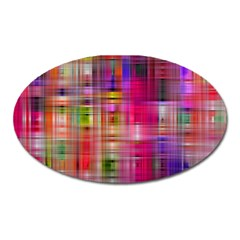 Background Abstract Weave Of Tightly Woven Colors Oval Magnet by Simbadda