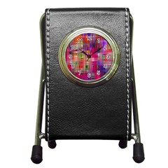 Background Abstract Weave Of Tightly Woven Colors Pen Holder Desk Clocks by Simbadda