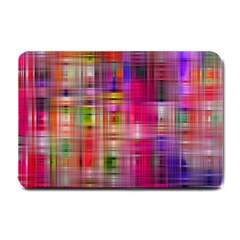 Background Abstract Weave Of Tightly Woven Colors Small Doormat  by Simbadda