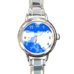 Blue Cloud Round Italian Charm Watch