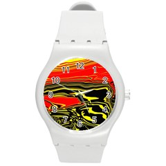 Abstract Clutter Round Plastic Sport Watch (m) by Simbadda