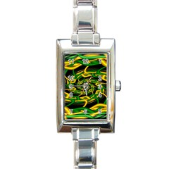 Green Yellow Fractal Vortex In 3d Glass Rectangle Italian Charm Watch by Simbadda