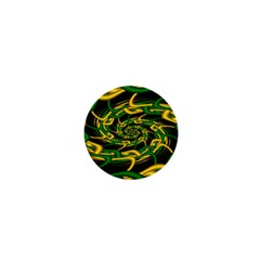 Green Yellow Fractal Vortex In 3d Glass 1  Mini Magnets by Simbadda