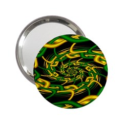 Green Yellow Fractal Vortex In 3d Glass 2 25  Handbag Mirrors by Simbadda