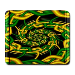 Green Yellow Fractal Vortex In 3d Glass Large Mousepads by Simbadda